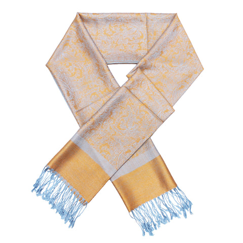 Whole Jacquard Pashmina FW1854 Orange Light Blue
