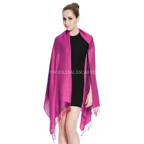 Whole Jacquard Pashmina FW1858 Dark Magenta
