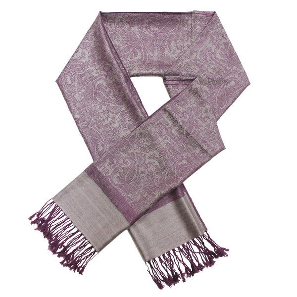 Whole Jacquard Pashmina FW1863   Grey Purple