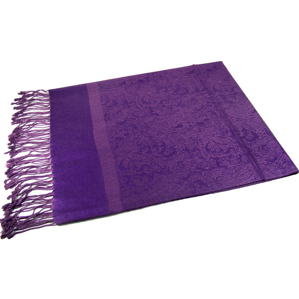 Whole Jacquard Pashmina FW1866   Deep Purple