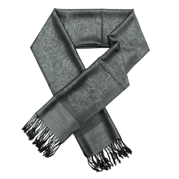 Whole Jacquard Pashmina FW1875  Medium Grey/Black