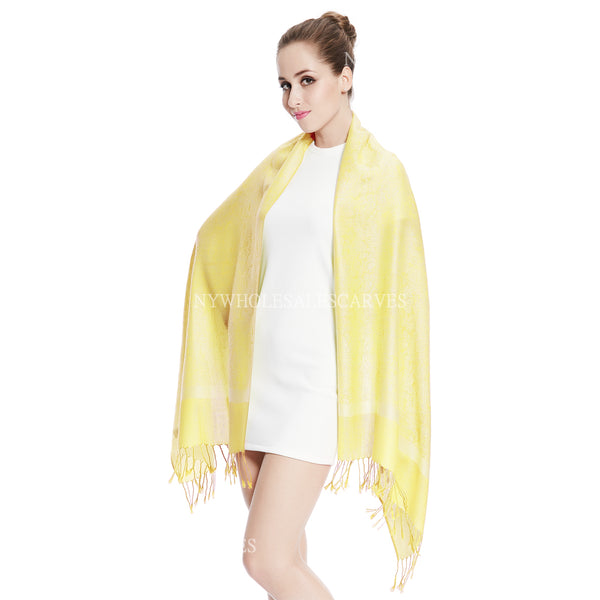 Whole Jacquard Pashmina FW1881 Light Yellow