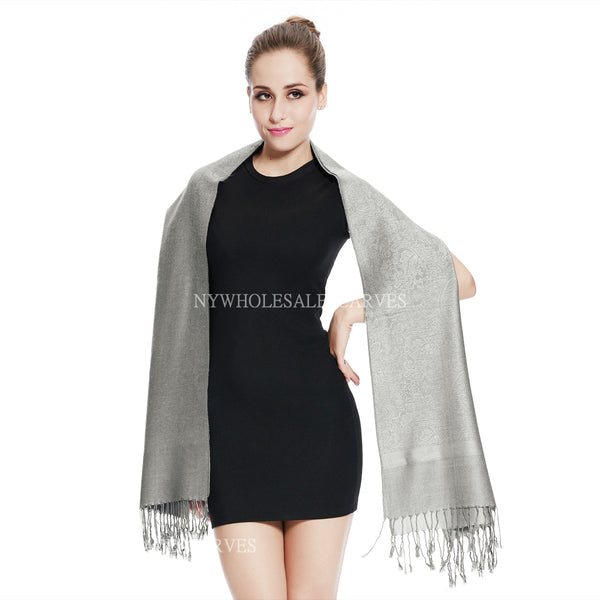 Whole Jacquard Pashmina FW1884  Light Grey