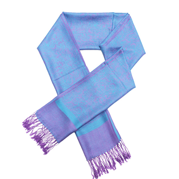 Whole Jacquard Pashmina FW1893 Cyan Purple