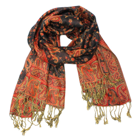Gorgeous Paisley Pashmina FW2305 Black Orange
