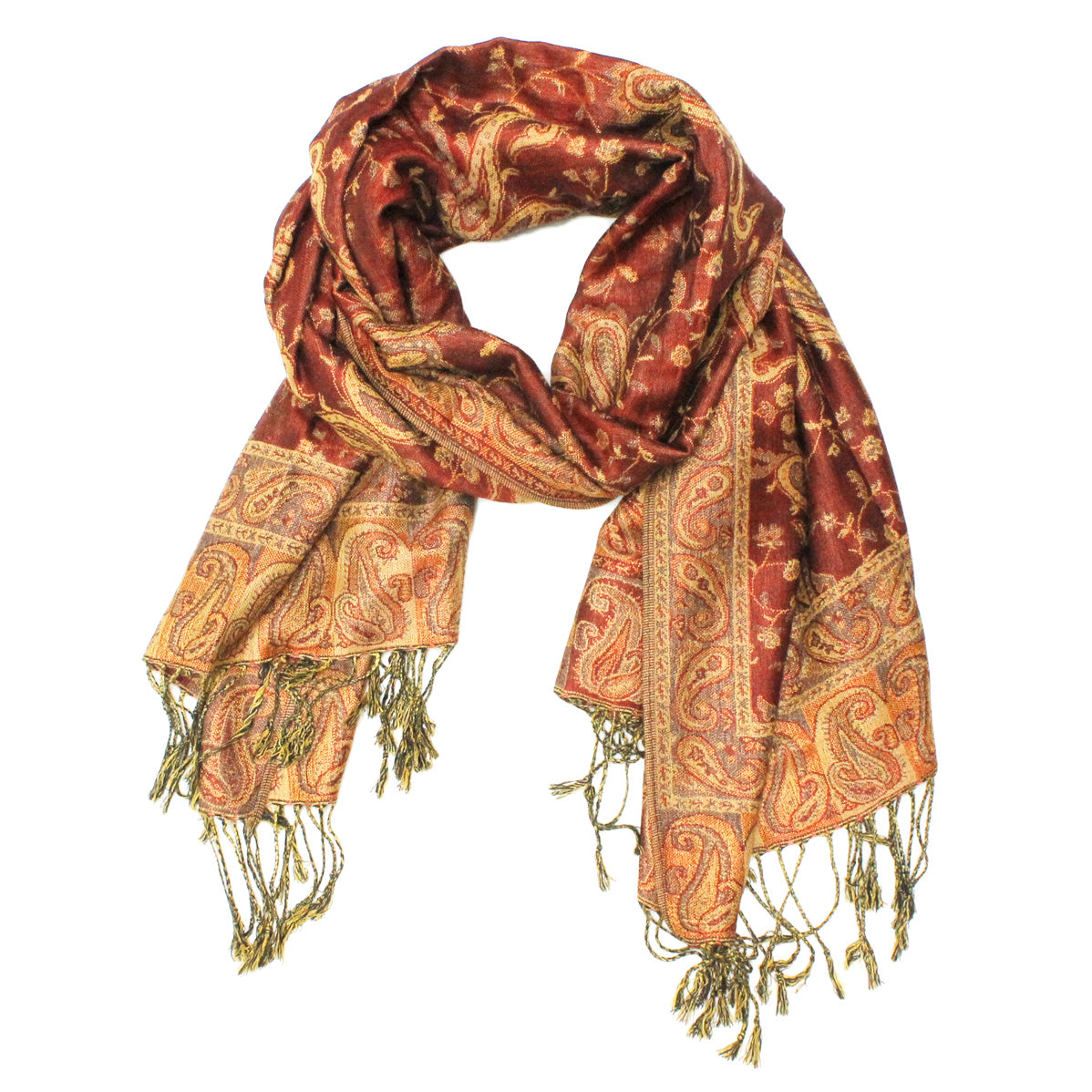 Gorgeous Paisley Pashmina FW2306 Dark Red