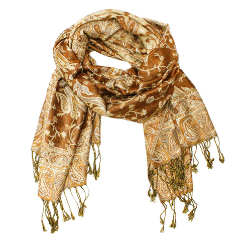 Gorgeous Paisley Pashmina FW2312 Rust Brown