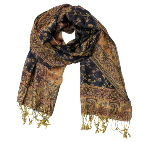Gorgeous Paisley Pashmina FW2319 Navy Light Brown