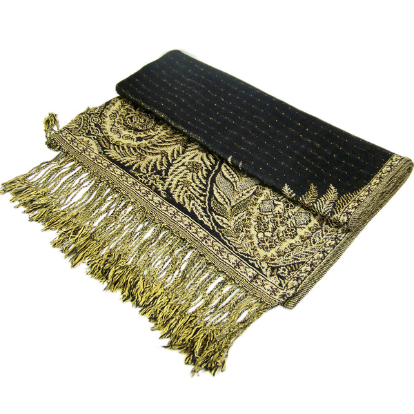 YZ3601 Thick Brocade Phoenix Tail Shawl Black