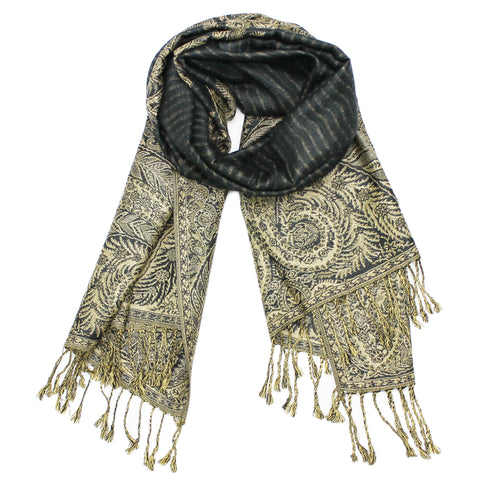 YZ3602 Thick Brocade Phoenix Tail Shawl Dark Grey
