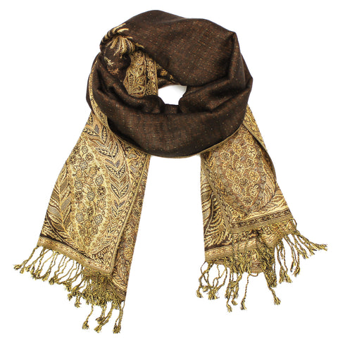 YZ3603 Thick Brocade Phoenix Tail Shawl Dark Brown