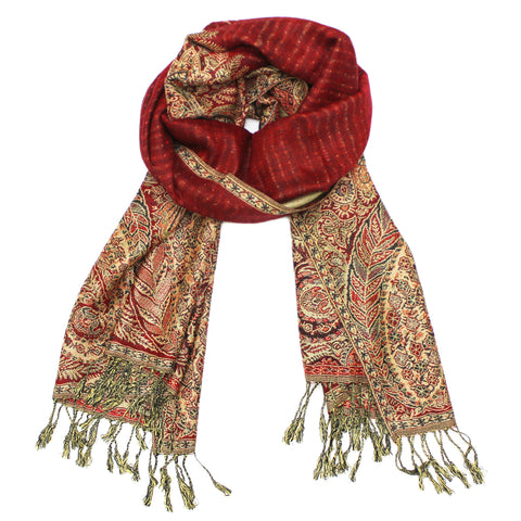 YZ3604 Thick Brocade Phoenix Tail Shawl Red