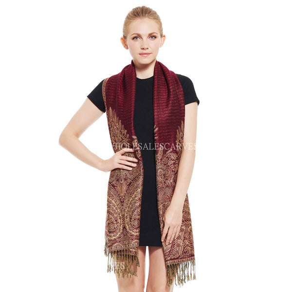 YZ3605 Thick Brocade Phoenix Tail Shawl Burgundy