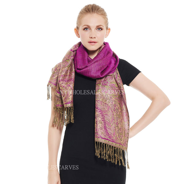 YZ3607 Thick Brocade Phoenix Tail Shawl Light Purple