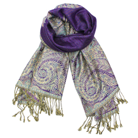 YZ3608 Thick Brocade Phoenix Tail Shawl Purple
