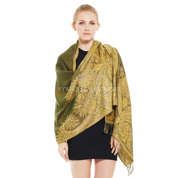 YZ3610 Thick Brocade Phoenix Tail Shawl Olive Green