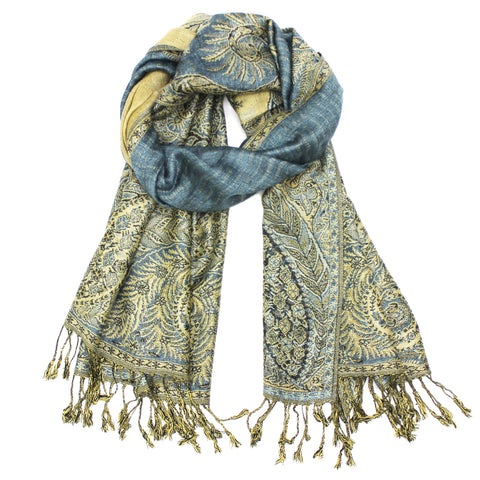 YZ3615 Thick Brocade Phoenix Tail Shawl Light Blue
