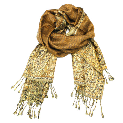 YZ3616 Thick Brocade Phoenix Tail Shawl Light Brown