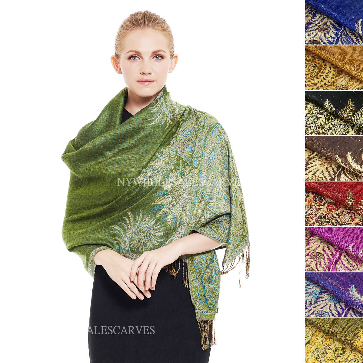YZ036S Thick Brocade Phoenix Tail Shawl Assorted Colors