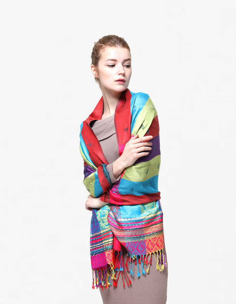 YZ6409 Rainbow Colorful Pashmina Shawl Teal