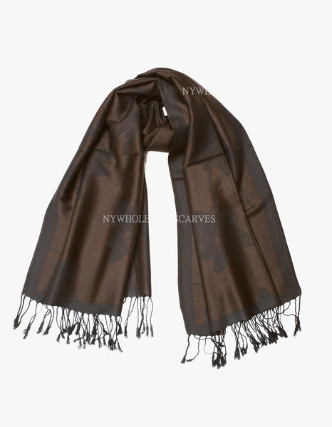 5401 Dual Tone Rose Pashmina Dark Coffee
