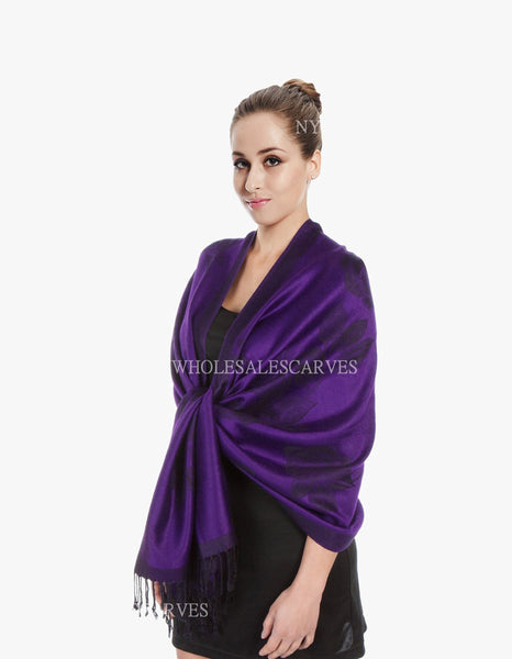 5403  Dual Tone Rose Pashmina  Purple Black