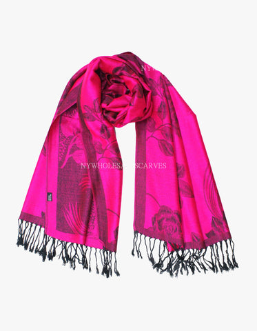 5408 Dual Tone Rose Pashmina Hot Pink /Black
