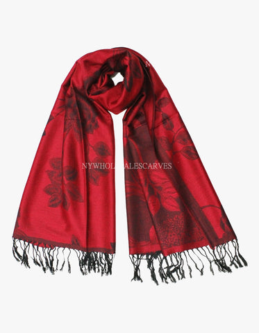 5412 Dual Tone Rose Pashmina Red