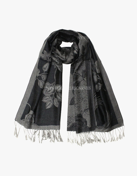 5424 Dual Tone Rose Pashmina Black/Grey