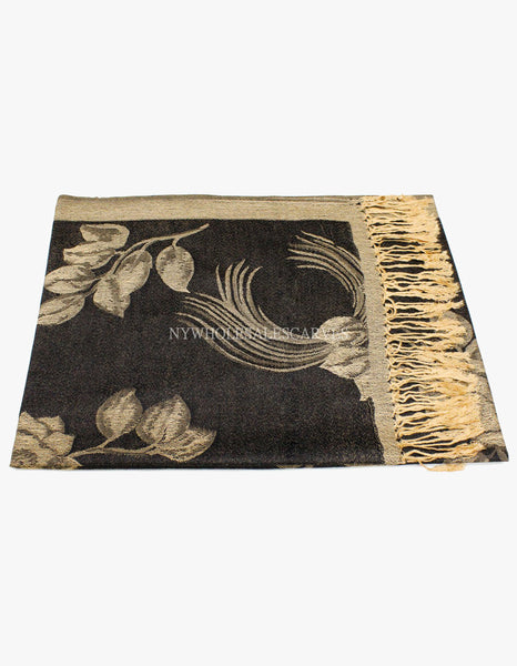 5427 Dual Tone Rose Pashmina  Black/Gold
