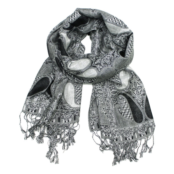 Luxurious Paisley Pashmina FW5614 Black White