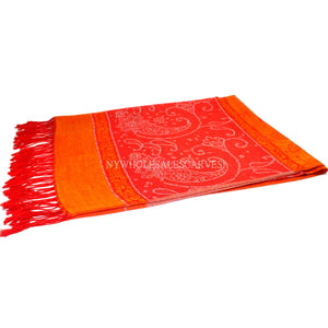 6311 Two Tone Vintage Jacquard Paisley Pashmina Orange
