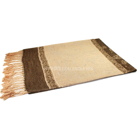 6312 Two Tone Vintage Jacquard Paisley Pashmina Brown Cream