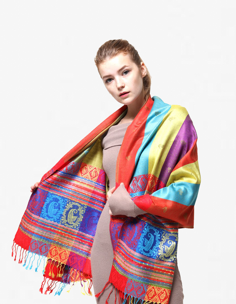 YZ6403  Rainbow Colorful  Pashmina  Shawl  Red