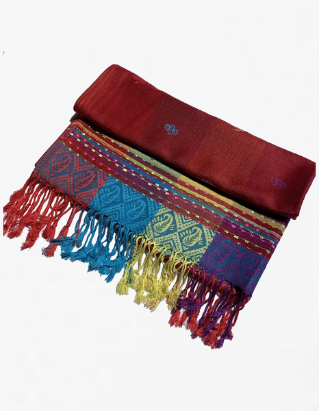 YZ6402 Rainbow Colorful  Pashmina  Shawl Burgundy