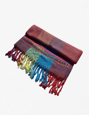 YZ6408 Rainbow Colorful Pashmina Shawl Coral