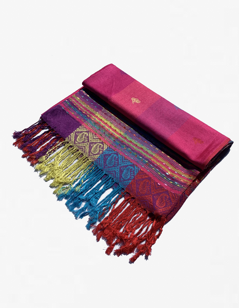 YZ6407 Rainbow Colorful  Pashmina  Shawl Fuchsia