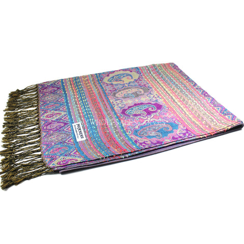 6503 Tribal Border Reversible Bohemian Pashmina Orchid