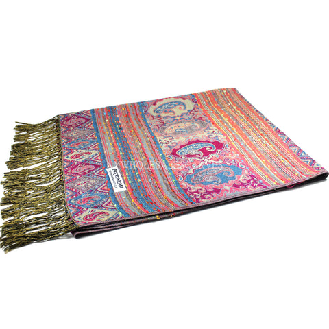 6505 Tribal Border Reversible Bohemian Pashmina Hot Pink