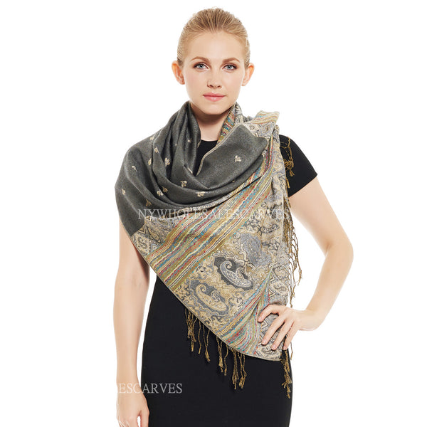 6507 Tribal Border Reversible Bohemian Pashmina Grey