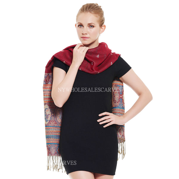 6516 Tribal Border Reversible Bohemian Pashmina Crimson
