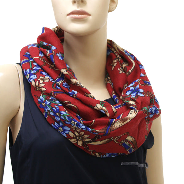 Chain Floral Pattern Infinity Scarf 7547 Assorted Colors