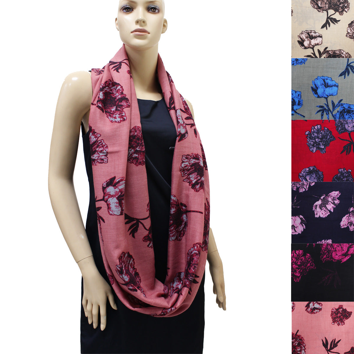 Rose Pattern Infinity Scarf 7552 Assorted Colors