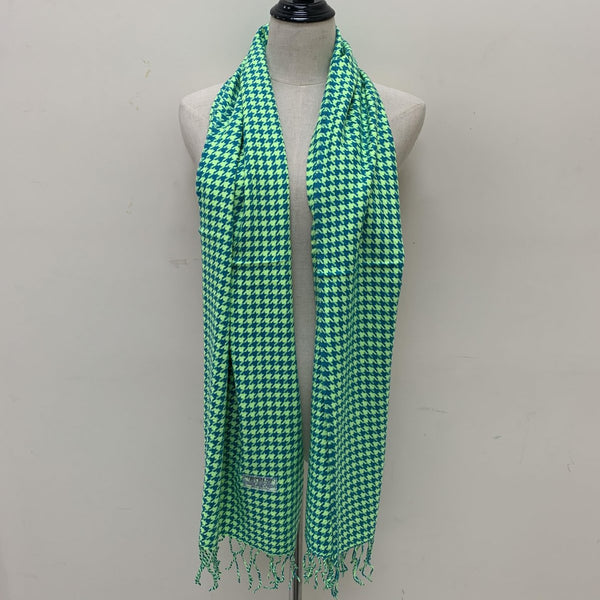 Houndstooth Scarf FW4409 Lime Green / Teal