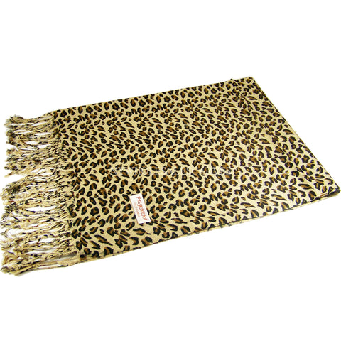 W05701 Leopard Print Pashmina Shawl Yellow Brown