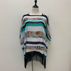 AA006 Animal Print Stripe Light Cozy Ruana