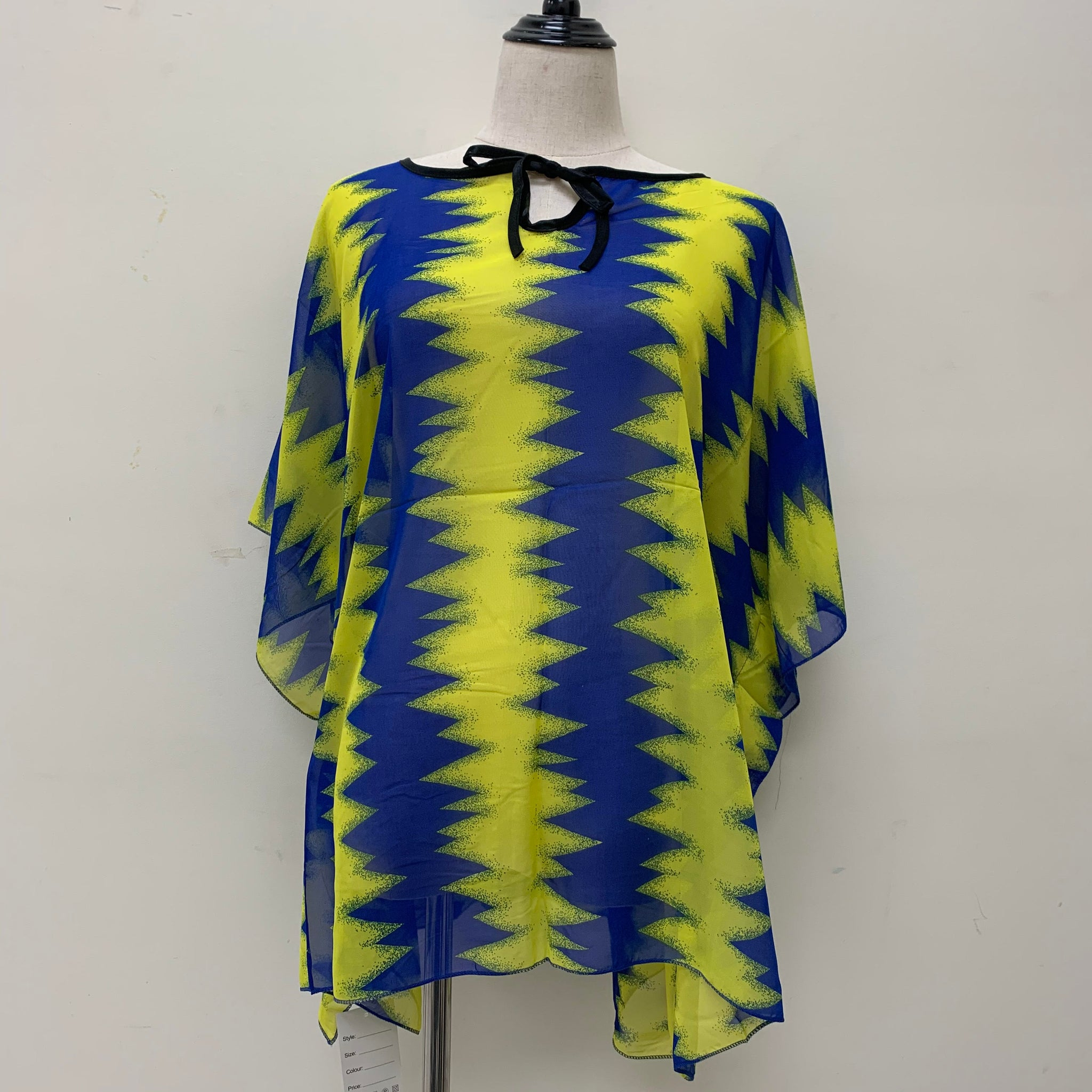 AA008 Spring & Summer Poncho Yellow/Blue