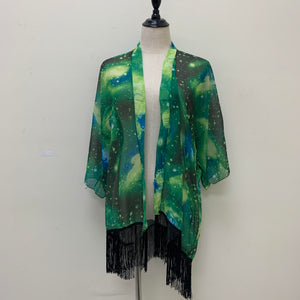 AA0102 Galaxy Print Ruana Green