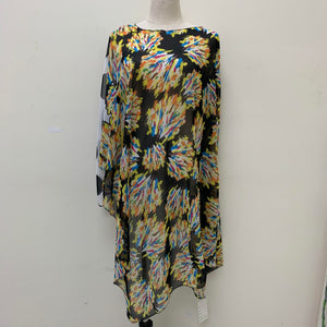 AA01103 Water Color Print Poncho Black