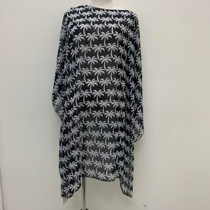 AA01301 Palm Trees Spring & Summer Poncho Black